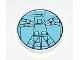 Part No: 4150px5  Name: Tile, Round 2 x 2 with Light Blue Vitruvian Minifigure Pattern