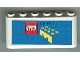 Part No: 4176pb14  Name: Windscreen 2 x 6 x 2 with LEGO Logo and Media Text on Blue Background Pattern (Sticker)