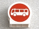 Part No: 41970pb13  Name: Duplo, Brick 1 x 3 x 2 Round Top Road Sign with White Bus on Red Background Pattern
