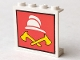 Part No: 4215apx4  Name: Panel 1 x 4 x 3 - Solid Studs with White Fireman Cap and 2 Yellow Axes Pattern