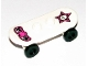 Part No: 42511c01pb07  Name: Minifig, Utensil Skateboard with Trolley Wheel Holders with Minifig Skull on Star and Winged Heart Pattern and Black Trolley Wheels (42511pb07 / 2496)