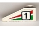 Part No: 4286pb013L  Name: Slope 33 3 x 1 with Black Number 1 on Green and Red Stripes Pattern Model Left (Sticker) - Set 6539