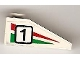 Part No: 4286pb013R  Name: Slope 33 3 x 1 with Black Number 1 on Green and Red Stripes Pattern Model Right (Sticker) - Set 6539
