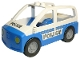 Part No: 4354c03pb02  Name: Duplo Car with 2 Studs on Roof, Blue Base and Silver 'POLICE' Pattern