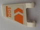Part No: 44676pb010L  Name: Flag 2 x 2 Trapezoid with Orange Chevron, Line, and Symbols Pattern, Model Left (Sticker) - Set 7693