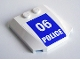Part No: 45677pb040  Name: Wedge 4 x 4 x 2/3 Triple Curved with White '06 POLICE' on Blue Background Pattern (Sticker) - Set 3661
