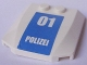 Part No: 45677pb068  Name: Wedge 4 x 4 x 2/3 Triple Curved with White '01 POLIZEI' on Blue Background Pattern (Sticker) - Set 7744