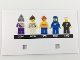 Part No: 5005358cdb02  Name: Paper, Cardboard Backdrop for Set 5005358, Card with Two Square Holes and Pictures of 5 Minifigures