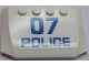 Part No: 52031pb114  Name: Wedge 4 x 6 x 2/3 Triple Curved with Blue '07' and 'POLICE' Pattern (Sticker) - Set 60048