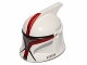 Part No: 61189pb17  Name: Minifigure, Headgear Helmet SW Clone Trooper with Holes, Dark Red Markings and Silver Visor Pattern (Clone Trooper Captain)