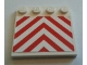 Part No: 6179pb082  Name: Tile, Modified 4 x 4 with Studs on Edge with Danger Chevrons Red Pattern (Sticker) - Set 7747