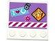 Part No: 6179pb124  Name: Tile, Modified 4 x 4 with Studs on Edge with Lock, Horse Danger Sign, Flower, 'I', Heart, Horseshoe and Danger Stripes Pattern (Sticker) - Set 41125