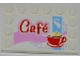Part No: 6180pb060  Name: Tile, Modified 4 x 6 with Studs on Edges with 'Café' (Cafe) and Red Cup and Saucer Pattern (Sticker) - Set 3061