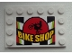 Part No: 6180pb065  Name: Tile, Modified 4 x 6 with Studs on Edges with Motorcycle and 'BIKE SHOP' on Checkered Background Pattern (Sticker) - Set 60026