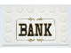 Part No: 6180pb066  Name: Tile, Modified 4 x 6 with Studs on Edges with 'BANK' Pattern (Sticker) - Set 79109