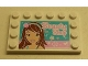 Part No: 6180pb076  Name: Tile, Modified 4 x 6 with Studs on Edges with Girl and 'Beauty Shop' Pattern (Sticker) - Set 3187