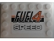 Part No: 6180pb107  Name: Tile, Modified 4 x 6 with Studs on Edges with 'FUEL4 SPEED' on Black and Orange Stripes Pattern (Sticker) - Set 8135