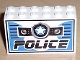 Part No: 6213pb03  Name: Brick 2 x 6 x 3 with Star Badge and Black 'POLICE' Pattern