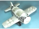 Part No: 62681c01pb01  Name: Duplo Airplane Small with Rear Cargo Bay, Light Bluish Gray Wheels Assembly and Zebra Stripes Pattern