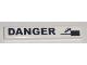 Part No: 6636pb022  Name: Tile 1 x 6 with Black 'DANGER' and Falling Car Pattern (Sticker) - Set 8196