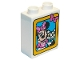 Part No: 76371pb146  Name: Duplo, Brick 1 x 2 x 2 with Minnie Mouse and Cat in Yellow Frame Pattern