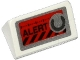 Part No: 85984pb059  Name: Slope 30 1 x 2 x 2/3 with 'ALERT', Black Danger Stripes and Silver Knob on Red Background Pattern (Sticker) - Set 70161