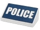 Part No: 85984pb070  Name: Slope 30 1 x 2 x 2/3 with White 'POLICE' on Dark Blue Background Pattern