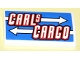 Part No: 88930pb018  Name: Slope, Curved 2 x 4 x 2/3 No Studs with Bottom Tubes with 'CARLS CARGO' and White Arrows Pattern (Sticker) - Set 8198