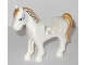 Part No: 93083c01pb08  Name: Horse with 2 x 2 Cutout, Lavender Eyes and Face Decoration, Gold Mane and Tail Pattern