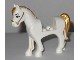 Part No: 93083c01pb15  Name: Horse with 2 x 2 Cutout, Medium Blue Eyes and Face Decoration, Gold Mane and Tail Pattern