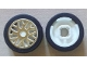 Part No: 93595pb01c01  Name: Wheel 11mm D. x 6mm with 8 'Y' Spokes with Gold Outline Pattern with Black Tire 14mm D. x 6mm Solid Smooth (93595pb01 / 50945)