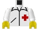 Part No: 973p24c01  Name: Torso Hospital Red Cross Shirt Pattern / White Arms / Yellow Hands