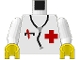 Part No: 973p25c01  Name: Torso Hospital Red Cross Shirt and Stethoscope Pattern / White Arms / Yellow Hands