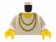 Part No: 973p72c01  Name: Torso Necklace Gold and Yellow Undershirt Pattern / White Arms / Yellow Hands