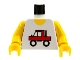 Part No: 973pb0006c01  Name: Torso Town Trucker Red Truck Logo Pattern / Yellow Arms / Yellow Hands