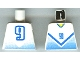 Lot ID: 103585992  Part No: 973pb0172  Name: Torso Soccer Blue Chevron and No. 9 Front and Back Pattern