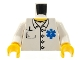 Part No: 973pb0409c01  Name: Torso Hospital EMT Star of Life, Open Collar, Buttons, Pocket Pen Pattern / White Arms / Yellow Hands