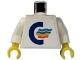 Part No: 973pb0430c01  Name: Torso Color Line Logo Pattern (Sticker) / White Arms / Yellow Hands