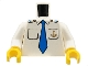 Part No: 973pb0434c01  Name: Torso Boat Anchor Logo, Blue Tie, Two Pockets Pattern / White Arms / Yellow Hands