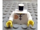 Part No: 973pb0829c01  Name: Torso Ninjago Red Flower Medallion and Gray Toggle Buttons Pattern  / White Arms / Yellow Hands