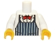 Lot ID: 165639106  Part No: 973pb1052c01  Name: Torso Dark Blue Apron with White Stripes, Red Bow Tie Pattern / White Arms / Yellow Hands