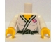 Part No: 973pb1158c01  Name: Torso Judo Kimono with Black Belt and Team GB Logo Pattern / White arms / Yellow hands
