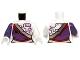 Part No: 973pb1580c01  Name: Torso Ninjago Dress with Silver Sash and Purple Circuitry Pattern / White Arm Left / Dark Purple Arm Right / White Hands