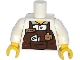 Part No: 973pb1610c01  Name: Torso Reddish Brown Apron with Cup and 'LARRY' Name Tag Pattern / White Arms / Yellow Hands