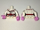 Part No: 973pb2578c01  Name: Torso Batman Female Outline with Red Trim and Belt, Stethoscope and Pockets Pattern / White Arms with Stripes and Pink Glove Cuffs / Bright Pink Hands