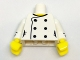 Part No: 973pb2708c01  Name: Torso Female Chef with Six Black Buttons and Yellow Neck Pattern / White Arms with Black Cuffs and Buttons Pattern / Yellow Hands