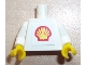 Part No: 973pb3012c01  Name: Torso Shell Logo Small Pattern (Squared Sticker) / White Arms / Yellow Hands
