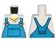 Part No: 973pb3472  Name: Torso V-Neck Shirt with Blue Overalls, Dotted Horizontal Line on Front Pocket - Printed Back Pattern
