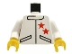 Part No: 973px124c01  Name: Torso Race Two Stars Jacket Pattern / White Arms / Yellow Hands