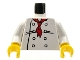 Part No: 973px4c01  Name: Torso Chef with 8 Buttons, Long Red Neckerchief, Black Wrinkles Pattern / White Arms / Yellow Hands